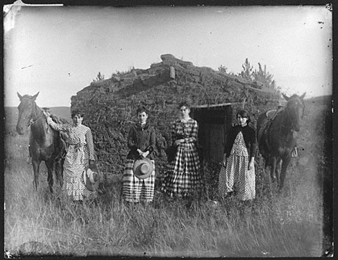 The Chrisman sisters, near Goheen Settlement on LIeban Creek, Custer County, Nebraska, 1886. Courtesy: Nebraska State Historical Society, RG2608-1053