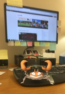 They're everywhere--even my office. I'm trying to not take offense that the creatures name is Krabby. I'm sure it has nothing to do with me.