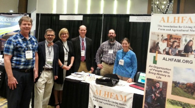 Happy ALHFAM members at the booth. From left to right: Dale Jones, Jim McCabe, Deb Arenz, Leo Landis, Jon Kuester, Deb Reid