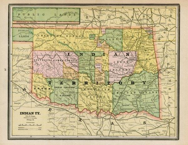 Indian Territory Map from the collections of the Oklahoma Historical Society